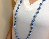 Williamsburg Blue with a Touch of White Recycled Paper Bead Necklace, Handmade in Uganda