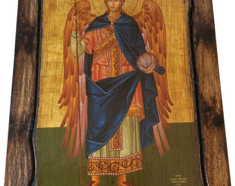 Archangel Gabriel - (full Body) - Orthodox Byzantine icon on wood handmade (22.5 cm x 17 cm)