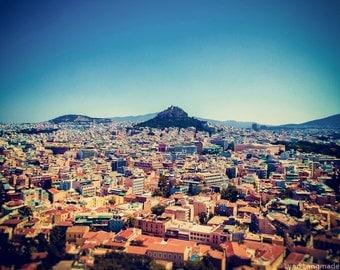 "Travel Photography - mount likavitos athens greece 5x7 greek art blue 8x10 purple wall art travel wall decor greece photo ""View of the Gods"""