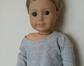 Handmade Grey Slouchy t-shirt/sweater for  18 inch dolls