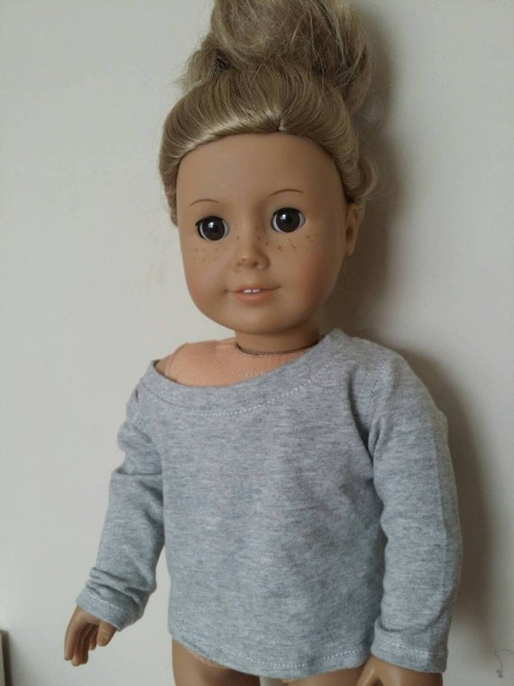 Handmade Grey Slouchy t-shirt/sweater for American Girl and other 18 inch dolls