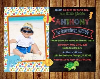 Under the Sea Chalkboard Photo Birthday Invitation for Boys- Digital File - DIY Printable 1st, 2nd, 3rd, 4th, 5th, 6th