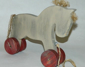 Wooden Horse - Pull-Along Wood Horse Decoration