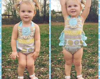 Blue, yellow and grey Vintage inspired romper - boutique style - baby girl - Newborn-24mos