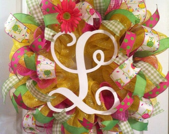 Summer Wreath/ Monogram Wreath/ Spring Wreath/ Owl Wreath/ Summer Deco Mesh Wreath/ Summer Door Decor