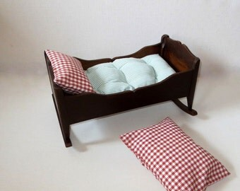 Antique Doll Cradle Collectible Doll Bed  Pine Wood 1870 ties