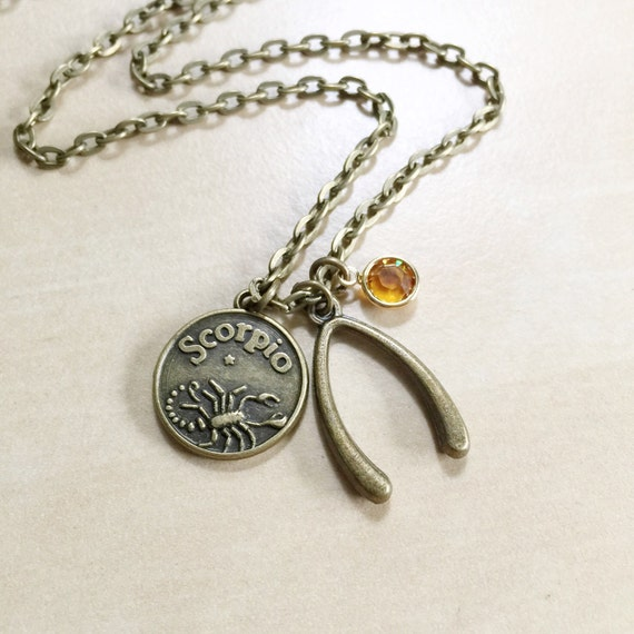 birthstone charm necklace 12 astrological signs bronze