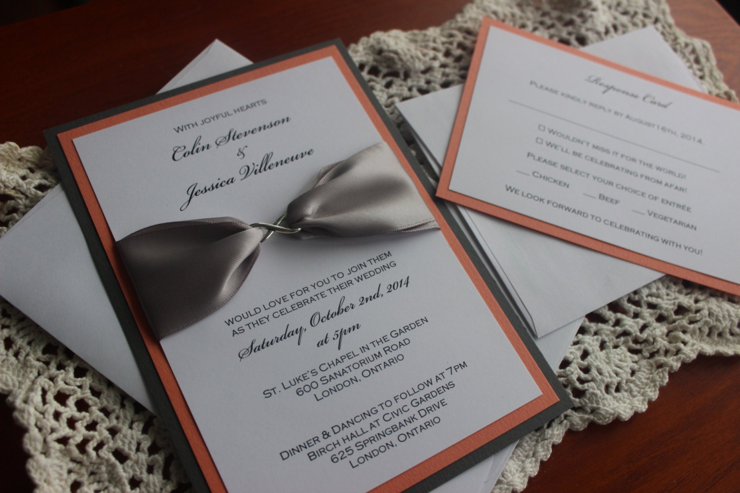 Canadian Wedding Invitations: Coral And Gray Modern Wedding Invitation With Infinity Charm