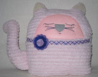 SALE Stuffed Cat Soft Toy Animal Chenille Pale Pink Nursery Decor Baby Shower Gift