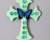 Blue and green Wall Cross, Butterfly wall cross, home decor, Christian decor, gift for the home, Christmas gift
