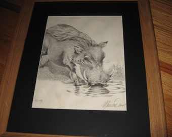 "WHART HOG ARTISTS Proof Framed And Matted Artist Signed As Part Of Print 18 1/2"" x 22 1/2"""