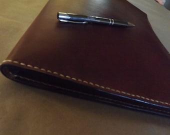 Large leather Portfolio /Notebook holder,binder, Dark Brown, Hand stitched, Fits legal pad or spiral notebook, Full grain Leather