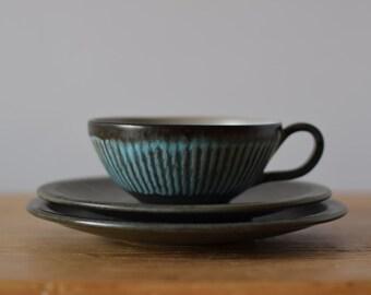 Løvemose Denmark - tea trio - cup & saucer and tea plate - GRAASTEN - midcentury