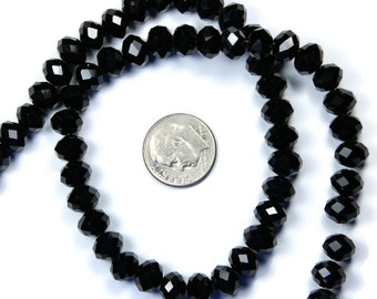 Black Crystal Rondelle Glass Beads 6x8mm - 30 QTY