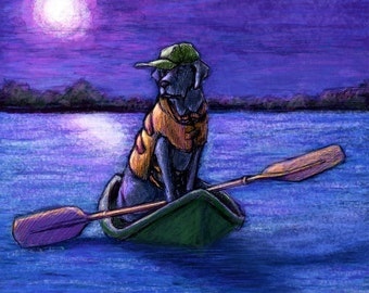 "Black Labrador Retriever Art - Kayak at Night - 16""x16"" Framed Artwork"