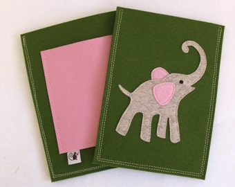 Elephant Kindle Tablet Case in Pink, Green and Grey Wool Felt, Great Kindle Case for Kids,  Customize for any Tablet