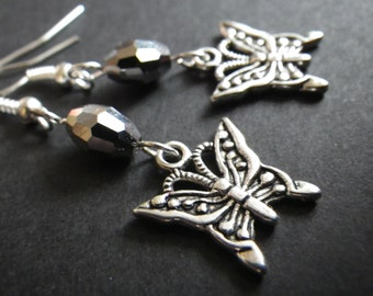 Butterfly- Sparkle- Glass- Gray- Black- Dangle Earrings- Silver Plated French Hook- Goth- Dark- Summer- Gift Idea for Her- Teen- Women