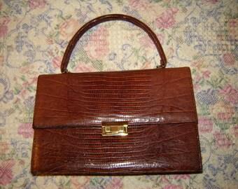 Vintage Bellestone Lizard Leather Flap Close Purse Bag