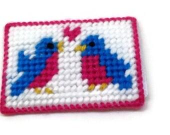 Plastic Canvas Gift Card Holder Love Birds, Valentines gift, money holder, gift for her, money pouch, credit card holder, animal design