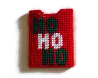 Plastic Canvas, Gift Card Holder, Ho Ho Ho, Needlepoint Case, Christmas Card Case, Handmade Card Holder, Christmas Gift