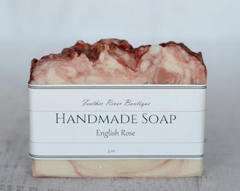 English Rose Handmade Soap, Floral Scented Hot Process Soap, Scented Soap