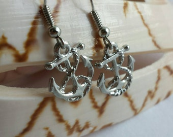 Nautical Anchors with Rope Charmed Dangly Earrings