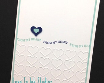 From My Heart Handstamped Card With a Blue Theme