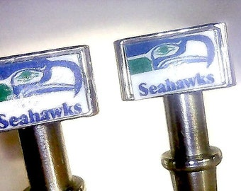 Pair of Seattle Seahawks Quality Cribbage Board Pegs With Black Velvet Pouch ~