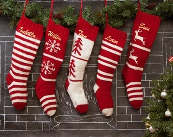 Personalized Knit Christmas Stocking, traditional red and white, Wool Hand Knit Christmas Stockings