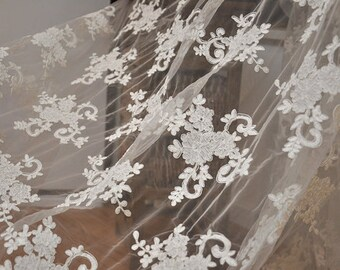 alencon lace fabric in off white for wedding gown, bridal headpiece, wedding applique