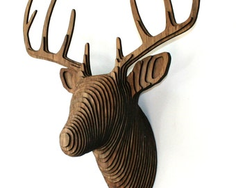 Wood Deer Head - Faux Taxidermy - Walnut