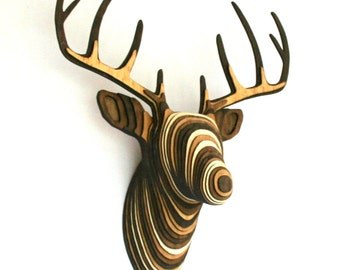 Wood Deer Head - Walnut, Natural, Oak - Faux Taxidermy