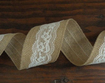 2.5 inch Burlap Ribbon with White Lace Overlay--Burlap Lace Ribbon--Rustic Wedding Decor--Burlap Lace Wedding--Country Wedding Decor