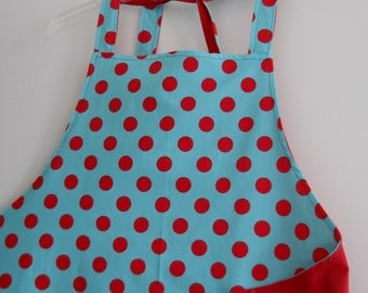 Chef Apron, Aqua with red dot, holiday