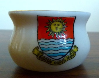 W H Goss - Crested China - Old Cooking Pot - Western super Mare