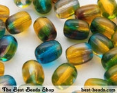 30pcs Yellow and Blue-Green Barrel Oval Czech Glass Pressed Beads 10x8mm