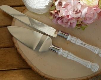vintage wedding cake knife, country cake knife, rustic reception decor, cottage chic bridal shower, custom colors
