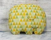 Sleepy elephant pillow stuffed toy nursery decor 10x12 primitive animal baby shower gift