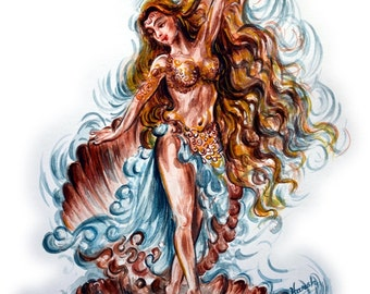 Aphrodite Painting, Greek Goddess of love, Sex, desire, beauty, Affection, magical girdle, daughter of  Zeus, Mythology Art by Harsh Malik