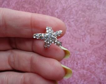 Crystal starfish ear cuff