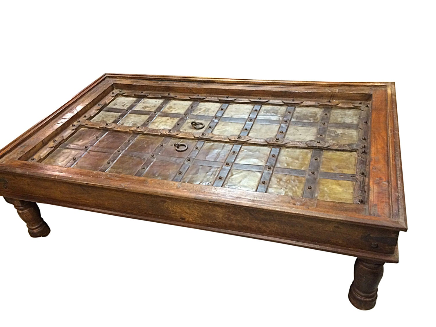 Antique coffee table indian furniture handmade by mogulgallery Antique brass coffee table