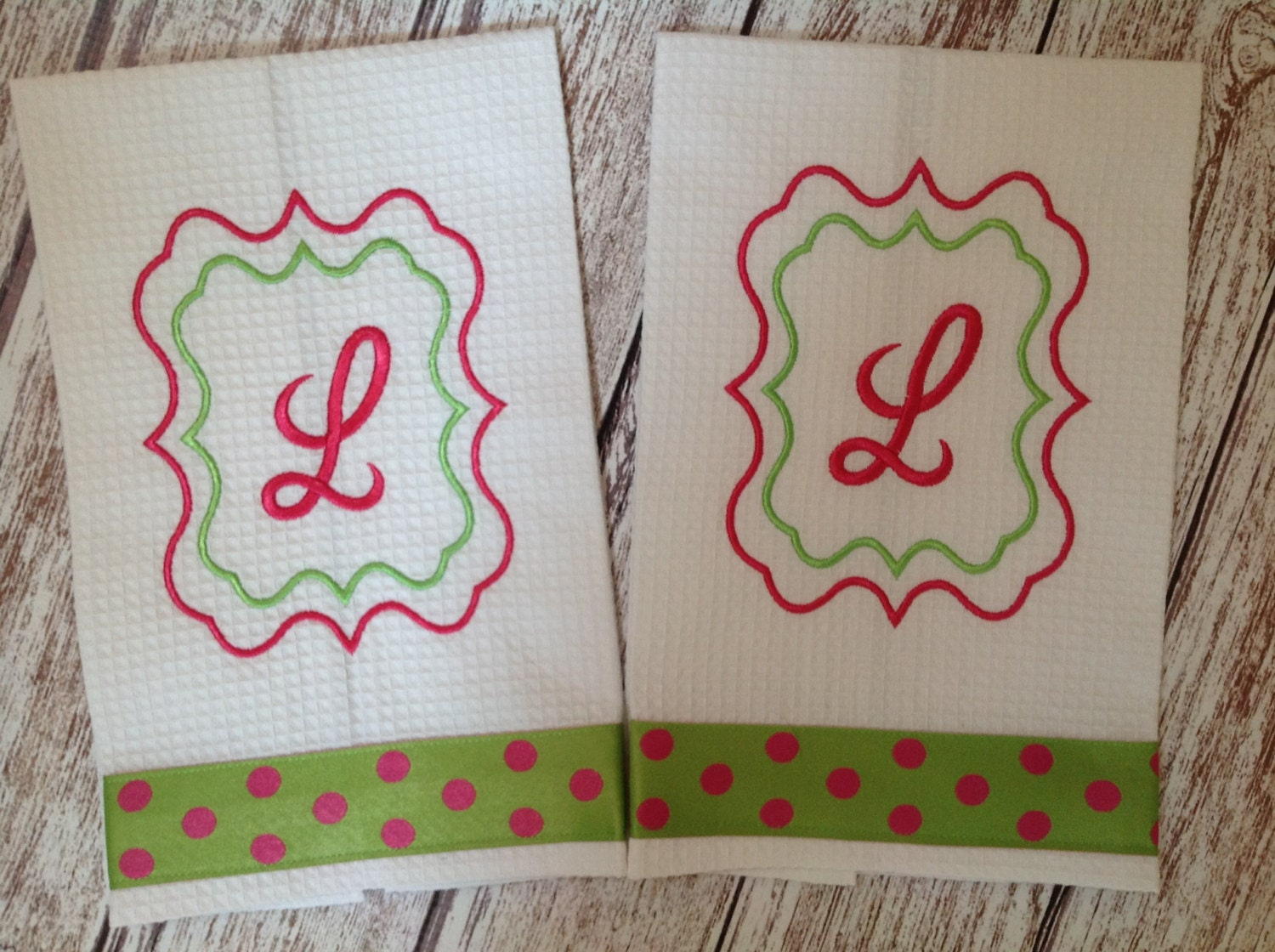 Monogrammed Kitchen Hand Towels With A Scroll Border Frame Set