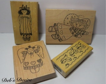 Stampin up and other rubber stamps country angels wood mounted