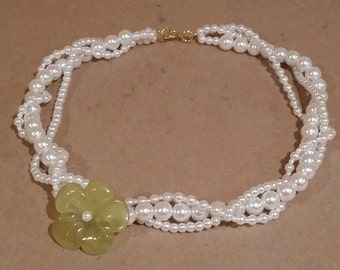 Faux Pearl Necklace w/Yellowed Jade Flower
