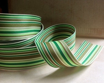 variegated striped greens and cream grosgrain ribbon
