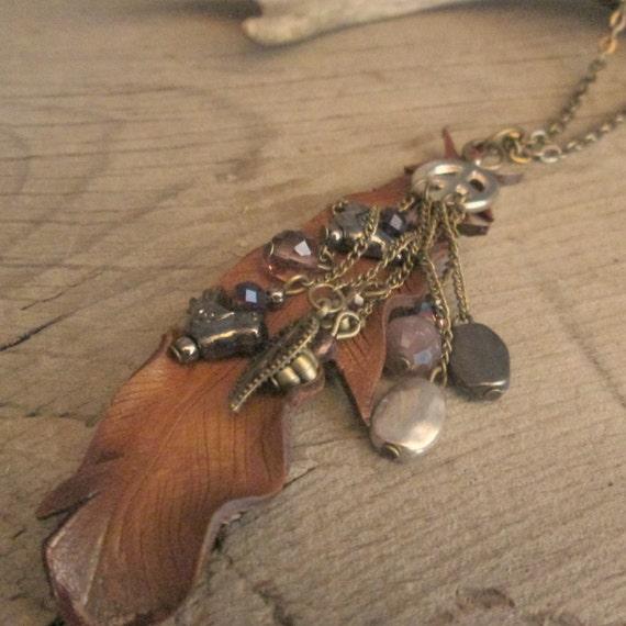 Leather Necklace, Leather Feather Necklace, Feather Necklace, Charm Necklace, Brass Necklace, Necklace