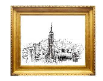 EMPIRE STATE BUILDING | Print From Original Ink Hand Drawing