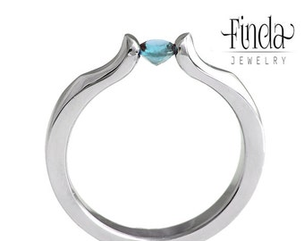 Lily engagement ring with blue topas   stainless steel   blue topas ring