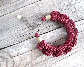Burgundy Rope bracelet Rope knot bracelet