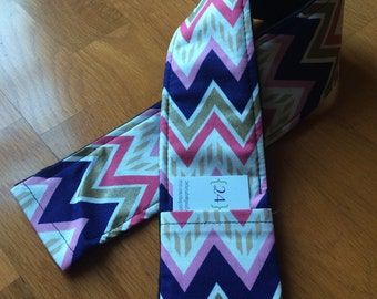 Navy, Coral, and Gold Chevron Camera Strap Cover with Lens Cap Pocket